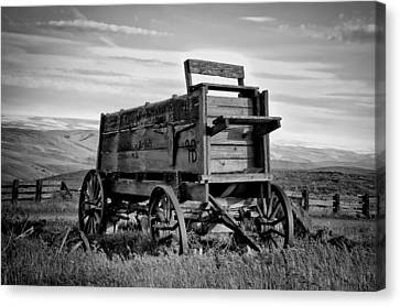 Black And White Covered Wagon Canvas Print by Athena Mckinzie
