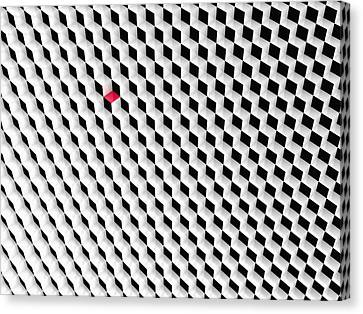 Black And White Cubes With One Red Cube. Canvas Print