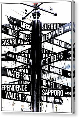 Black And White Directions  Canvas Print by Cathie Tyler