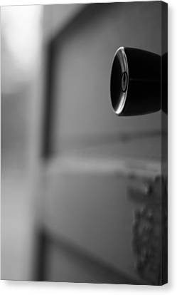 Black And White Door Handle Canvas Print by Dan Sproul
