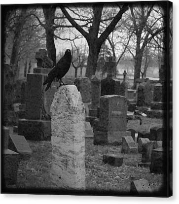 Black And White Graveyard Canvas Print by Gothicrow Images