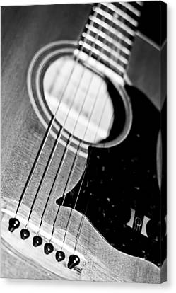 Black And White Harmony Guitar Canvas Print