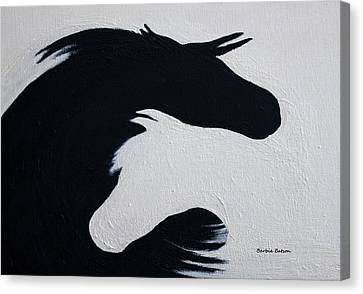 Canvas Print featuring the painting Black And White Horses Together Forever by Barbie Batson