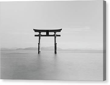 Floating Torii Canvas Print - Black And White Image Of A Floating by Philippe Widling