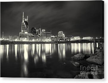 Downtown Nashville Canvas Print - Black And White Image Of Nashville Tn Skyline  by Jeremy Holmes