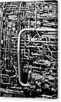 Black And White Jet Engine Canvas Print by Dan Sproul