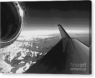 Canvas Print featuring the photograph Jet Pop Art Plane Black And White  by R Muirhead Art