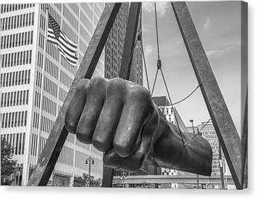 Black And White Joe Louis Fist And Flag Canvas Print by John McGraw