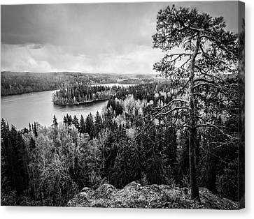 Black And White Lake View Canvas Print