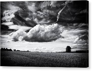 Black And White Landscape With Dramatic Sky And Clouds Canvas Print by Matthias Hauser