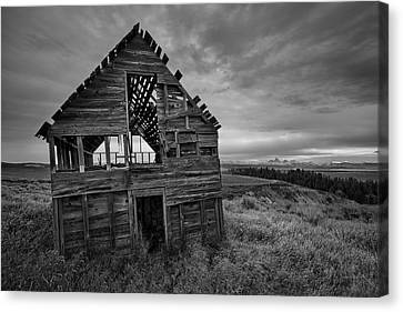 Old Cabins Canvas Print - Black And White by Leland D Howard