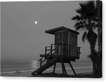 Black And White Moon Over  Lifeguard Tower Canvas Print by Richard Cheski