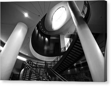 Black And White Lobby Staircase Canvas Print by Dan Sproul