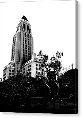 Canvas Print featuring the photograph Black And White Los Angeles Abstract City Photography...la City Hall by Amy Giacomelli