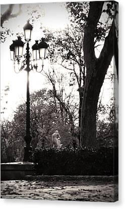 Black And White Madrid Light Post Canvas Print by Angela Bonilla