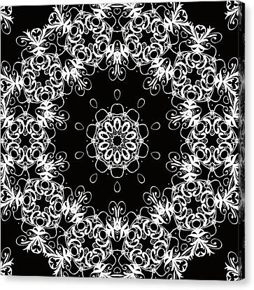 Black And White Medallion 1 Canvas Print by Angelina Vick