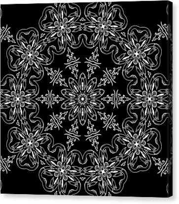Black And White Medallion 11 Canvas Print by Angelina Vick