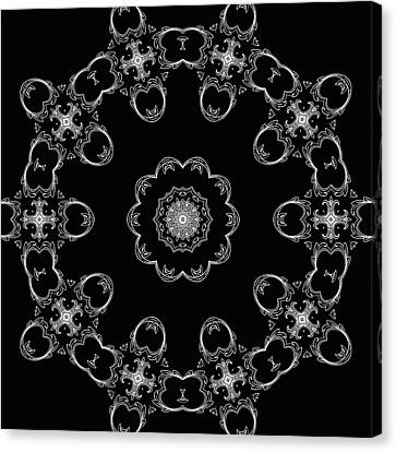 Black And White Medallion 3 Canvas Print by Angelina Vick