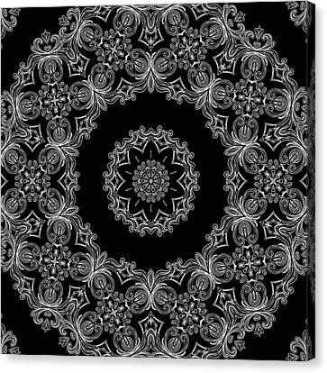 Black And White Medallion 6 Canvas Print by Angelina Vick
