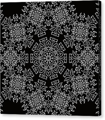 Black And White Medallion 7 Canvas Print by Angelina Vick