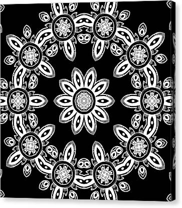 Black And White Medallion 8 Canvas Print by Angelina Vick