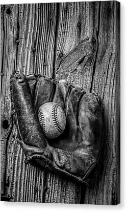 Baseball Canvas Print - Black And White Mitt by Garry Gay
