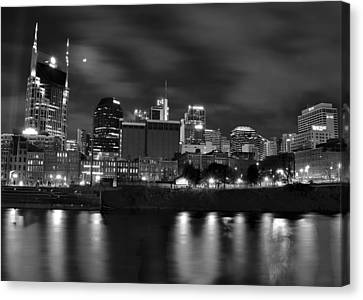Black And White Night In Nashville Canvas Print by Frozen in Time Fine Art Photography