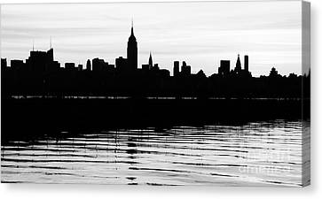 Canvas Print featuring the photograph Black And White Nyc Morning Reflections by Lilliana Mendez