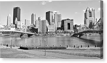 Black And White Over The Allegheny Canvas Print by Frozen in Time Fine Art Photography