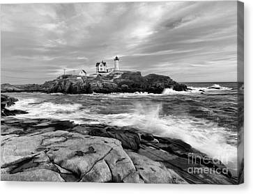 Black And White Painted Seascape Canvas Print by Sharon Seaward