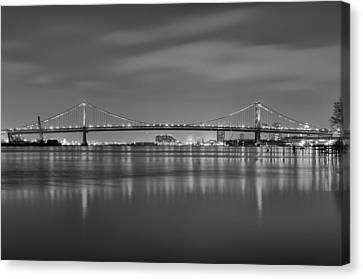 Benjamin Franklin Canvas Print - Black And White Philadelphia - Benjamin Franklin Bridge by Bill Cannon