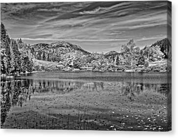Black And White Photo Of Long Pond Acadia National Park Maine Canvas Print by Keith Webber Jr