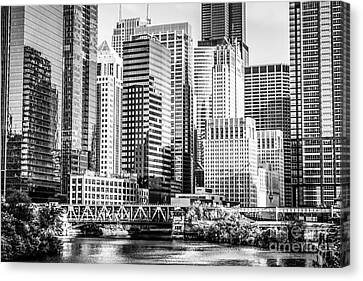 Black And White Picture Of Chicago At Lake Street Bridge Canvas Print by Paul Velgos