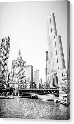 Chicago River Canvas Print - Black And White Picture Of Chicago River Architecture by Paul Velgos