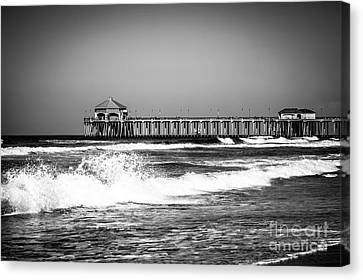 Black And White Picture Of Huntington Beach Pier Canvas Print