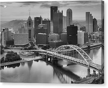 Black And White Pittsburgh Sunrise Canvas Print by Adam Jewell