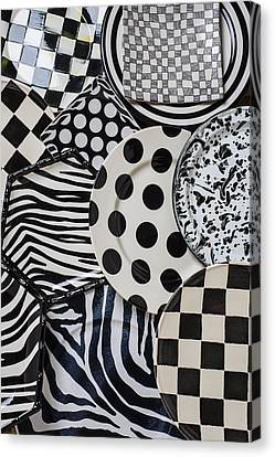 Ceramic Canvas Print - Black And White Plates by Garry Gay