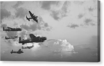 Black And White Retro Image Of Batttle Of Britain Ww2 Airplanes Canvas Print by Matthew Gibson