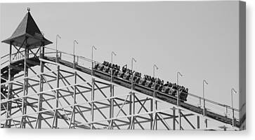 Black And White Roller Coaster Canvas Print by Dan Sproul