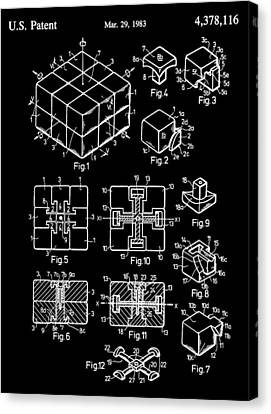 Black And White Rubik's Cube Patent Canvas Print by Dan Sproul