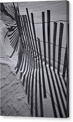 Black And White Sand Fence During Winter On The Beach Canvas Print by Randall Nyhof