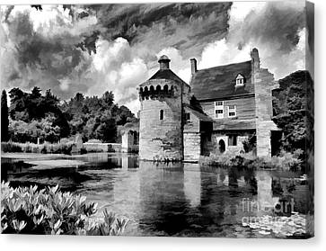 Scotney Castle In Mono Canvas Print