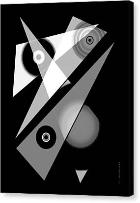 Black And White Shapes Art Canvas Print by Mario Perez