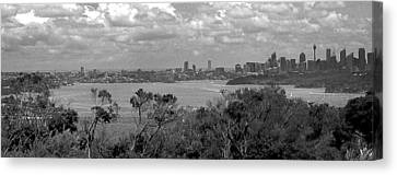 Canvas Print featuring the photograph Black And White Sydney by Miroslava Jurcik