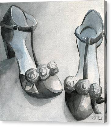 Black And White T Strap Shoe Painting Canvas Print