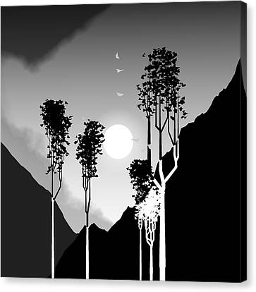 Black And White Trees Canvas Print by GuoJun Pan