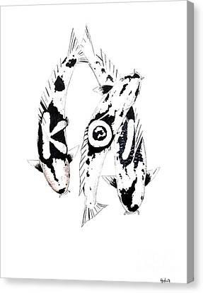 Black And White Trio Of Koi Canvas Print by Gordon Lavender