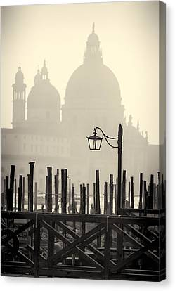 Black And White View Of Venice Canvas Print
