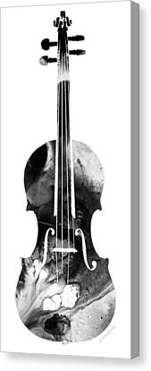 Black And White Violin Art By Sharon Cummings Canvas Print by Sharon Cummings