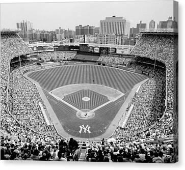 Yankee Stadium Canvas Print - Black And White Yankee Stadium by Horsch Gallery